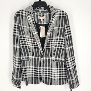 Philosophy Black White Plaid One Button Blazer S